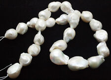 Rare 12-15MM WHITE SOUTH SEA BAROQUE KESHI AKOYA PEARL LOOSE BEADS 15""