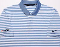 NIKE NBC Golf Channel Short Sleeve Polo Shirt Blue Striped Large L