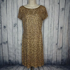 RENE DERHY Womens Large Dress Brown Tan Embellished Stones Floral NEW Slip SS
