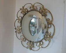 VINTAGE GOLD TONE METAL CONVEX STYLE WALL MIRROR-CIRCA 1950s/1960s-DIAMETER 43cm