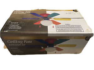 Home Creations Rainbow Ceiling Fan With Light Bulb Multicolor Blades NEW IN BOX