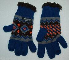Toddler Girls WARM WINTER GLOVES Thinsulate BLUE BLACK ORANGE Knit / Sherpa L-XL
