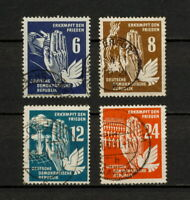 (YYAT 0354) GDR DDR 1950 USED Mich 276 - 279 Scott 71 - 74 Germany Peace Dove