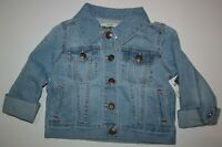 New OshKosh 7 year Girls Denim Jacket Light Blue Jean Snaps Cuffs Flap Pocket