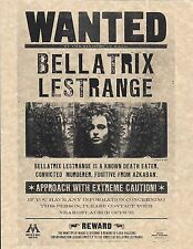 Harry Potter Wanted Bellatrix LeStrange Poster/Flyer Prop/Replica