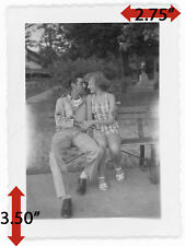 VTG 1950's Korean War Military Army Man Sgt Lady Kissing Couple Park Bench