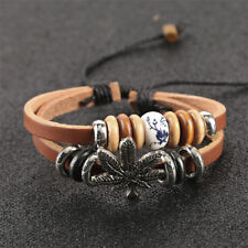Weed Cannabis Maple Leather Hemp Red Rope Bracelet Wristband Bangle Music Surfer