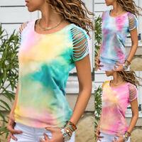 ❤️ Womens Short Sleeve Hollow Tops Summer Beach Gradient Slim Fit Blouse T Shirt
