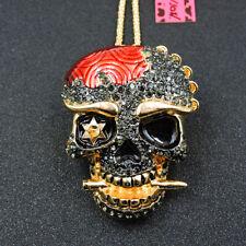 Betsey Johnson Fashion Big Shiny Crystal Skull Head Pendant Chain Necklace