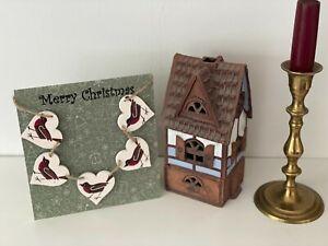 'Merry Christmas Card & Heart Bunting Decoupaged in Emma Bridgewater's Robin
