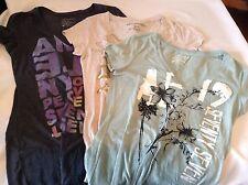3 Vintage American Eagle Aeropostale Shirts V Neck M Teal Beige Black Outfitters