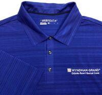 Nike Golf Wyndham Grand Bonnet Creek Dri Fit Blue Striped Polo Shirt - Mens L