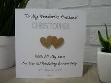 Handmade Personalised 1st First Wedding Anniversary Card Husband Wife Paper
