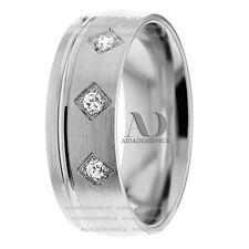 Solid 10K White Gold Diamond Wedding Ring 0.09Ctw 7mm 3 Stones Wedding Band