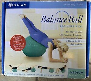 "GAIAM Balance Ball Beginner's Kit Medium 5'6"" / 65cm Ball & Pump"