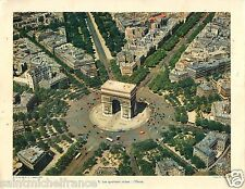 VUE AERIENNE PLACE ETOILE Arc de triomphe Paris FRANCE PLANCHE PHOTO 1955
