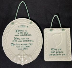 2 Ceramic Wall Plaques Irish Blessing Dance Sing Celtic Harp St. Patrick Russ