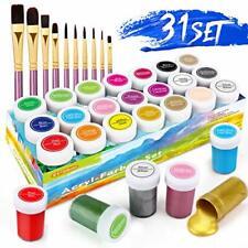 RATEL Acryl Farben Set, 31 Premium Farben mit 21 x 20 ml Pigment +10 Pinsel