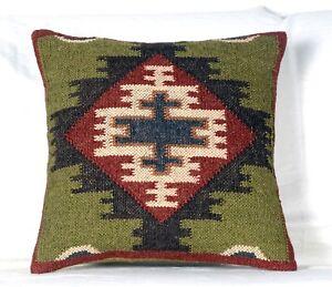 2 set of Wool Jute Hand Woven Kilim Cushion Cover Rug Throw Rustic Pillow 1092-B