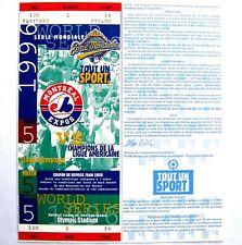 1996 Montreal Expos World Series Série Mondiale Phantom Unused Ticket French