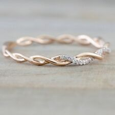 Women Solid Silver Rose Gold Stack Twisted Ring Wedding Party Jewelry Gifts