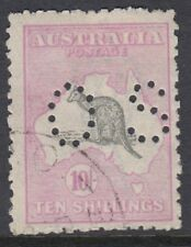 AUSTRALIA OFFICIAL :1915 10/- grey and pink die II punctured small O S SGO51 CTO