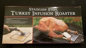 Charcoal Companion Stainless Steel Bbq Grill Turkey Infusion Roaster NIB