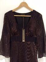 Bnwt Fenn Wright Manson Silk Blend Dress 12 Dark Purple 3/4 Sleeve Party Eve