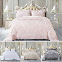 3 Piece Quilted Velvet Bedspread Throw Luxury Bedding Set Double King Size Quilt