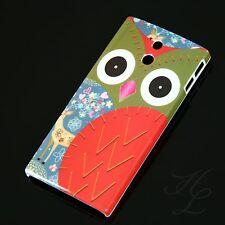 SONY LT22i XPERIA P Hard Case Schutz Motiv Hülle Etui Cover Eule Rot Owl Hibou