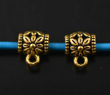 50 Bails Flower Connectors European Golden Holder Clasp Fit 3mm Leather Cord