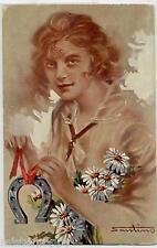 SANTINO Fashion Glamour Girl Donnina con Fiori Ferro di Cavallo PC Circa 1910