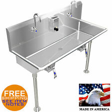 "Hand Sink 42"" 2 Users Multi Station Hands Free With Legs Stainless Steel Basin"