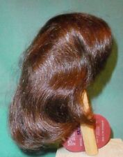 "doll wig/ human hair 13"" to 14"" dark brown, half length/Global Dolls Suzi"
