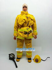 "1/6 Scale Fireman Uniform Helmets Gas Mask Equipment Set in Yellow F 12"" Figure"