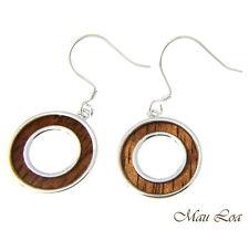 Koa Wood Hawaiian Scroll Circle Round Rhodium Silver Plated Brass Hook Earrings