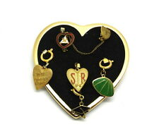FUN Vintage Multi HEART Charm Holder PIN CUSHION Pad Brooch