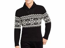 NWT $265 Polo Ralph Lauren Men's Shawl Collar Half Zip Sweater Sz L Black