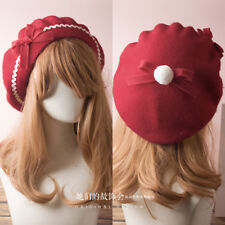 Lolita Hat French Beret Wool Cap Beanie Ski Bow Tie Girl Women Classic 17colors