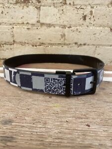 """Authentic """"VANS"""" Blue & White Checkerboard Belt with Black Buckle (107cm Length)"""