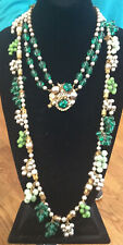 GORG. SIGNED MIRIAM HASKELL (LATE 40S-EARLY 50'S) GREEN GLASS & PEARL NECKLACE