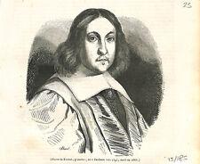 Pierre de Fermat géomètre mathématique mort le 12 janvier 1665 GRAVURE 1843