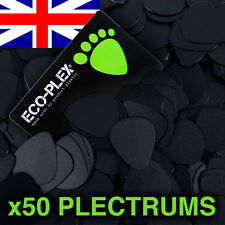 50 x Eco-Plex Black 0.73mm Medium Plectrums/Picks Electric/Acoustic/Bass/Guitar