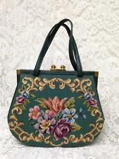 Vintage, Switkes, Green Floral Needlework Purse-Hand Bag, 10in x 12in x 2.5in
