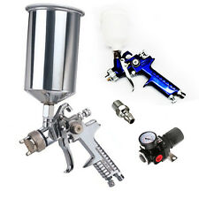 3 in 1 GRAVITY FEED HVLP PAINT SPRAY GUN 1L Large Cup+ TOUGH UP + Air REGULATOR