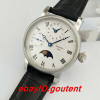 42mm PARNIS white dial Moon Phase GMT hand winding movement mens watch 54
