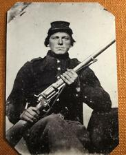 Civil War Union Uniformed Soldier with Colt Revolving Rifle  RP tintype C1181RP