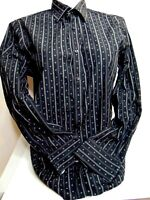 Parc 81 Men's Large 16.5 Black Gray Long Sleeve Button Down Flip Cuff Shirt LRG