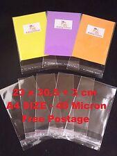100 CELLOPHANE BAGS- 23 x 30.5 +3cm lip- A4 SIZE 40micron-SELF SEAL-Free Postage