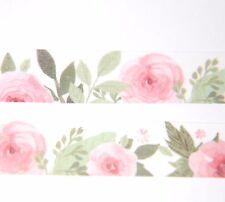 Japanese WASHI Tape ~ 8m x 15mm ~ Pink Camellia Flower ~ embellishment